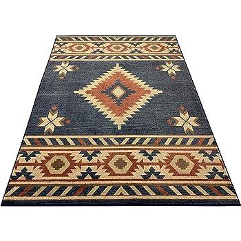 Nevita Collection Southwestern Native American Design Area Rug Southwest Design Rugs Geometric South West Pattern (Blue, 5 x 7)