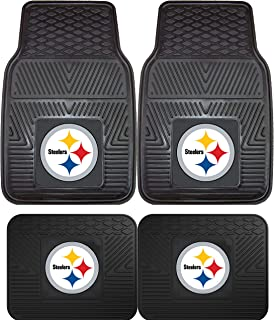 NFL Pittsburgh Steelers Car Floor Mats Heavy Duty 4-Piece Vinyl - Front and Rear