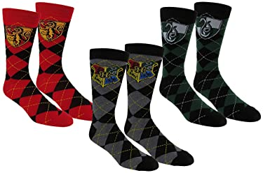 Harry Potter Mens Slytherin & Gryffindor Casual Crew Socks 3Pack, Black/Red/Green, One Size 10-13 (Shoe Sizes 6-12)
