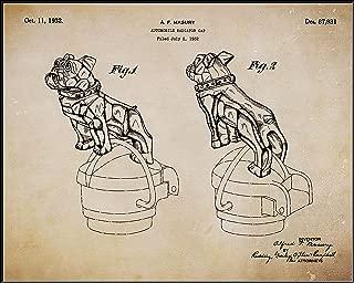 Collectibles and Video Inc. 1932 Mack Truck Bulldog Radiator Cap Original Patent Poster – 11x14 Art Print Hood Ornament Frame – Great Gift Semi-Truck Drivers (Parchment)