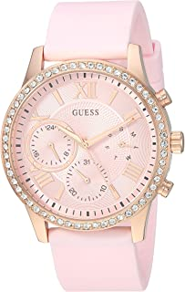 GUESS Womens Rose Gold-Tone and Pink Multifunction Watch