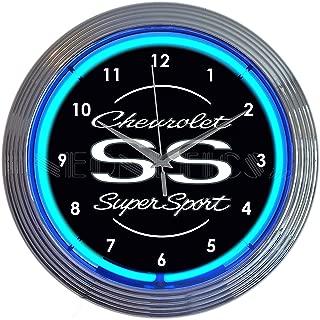 Neonetics Chevrolet Chevy SS Super Sport Clock, 15 Inch Diameter with Blue Neon – 8CHVSS