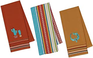 Southwestern Themed Decorative Cotton Kitchen Towel Set | Cactus, Gecko Lizard, Striped Style Print | 3 Towels for Dish and Hand Drying