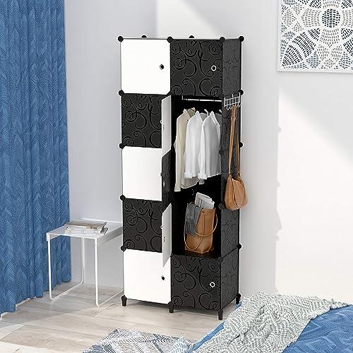 Armoire pour Vetement, DIY Armoire Plastique Chambre, Armoire Enfant Adultes, Assemblage Facile pour Vêtements, Acces...