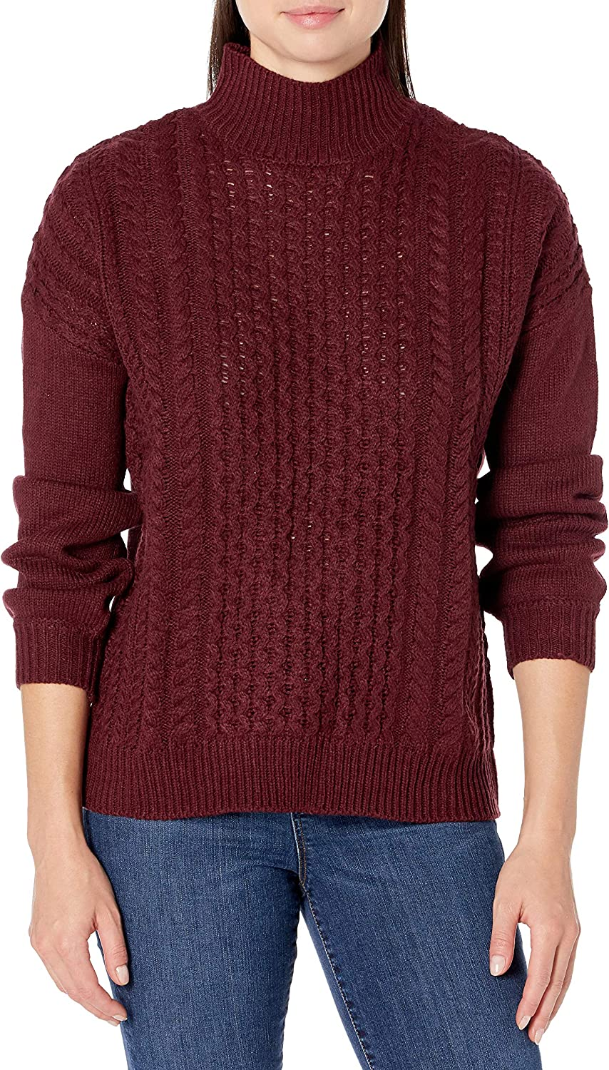William Rast Women's Mila Cable Pattern Design Pullover Sweater