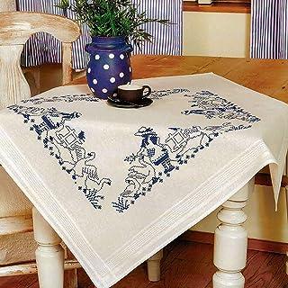 Kamaca Stickpackung Tischdecke Gänseliesel Kreuzstich vorgezeichnet aus Baumwolle Stickset mit Stickvorlage Mitteldecke 80x80 cm blau