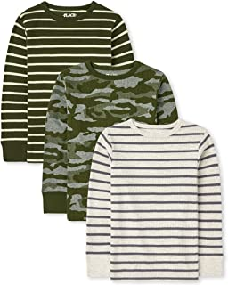The Children's Place Boys' Long Sleeve Camo and Striped Thermal Top 3-Pack