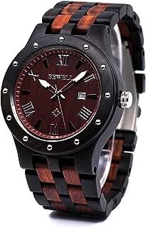 Bewell Men's Wooden Watches Handmade Date Display Analog Quartz Luminous Wristwatch