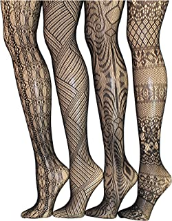 Frenchic Seamless Fishnet Lace Stocking Sexy Tights Extended Sizes (Pack of 4)