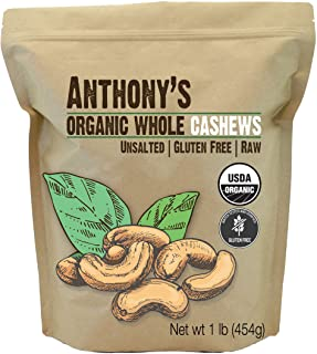 Sponsored Ad - Anthony's Organic Whole Cashews, 1 lb, Raw, Unsalted & Gluten Free