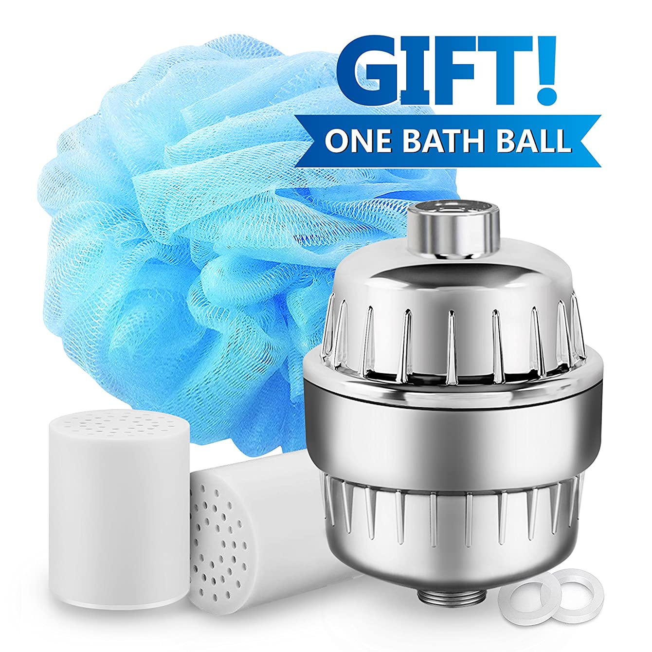 Waterdrop Replacement Shower Water Filter- High Output & Multi-Stage- 2 Cartridges and 1 Bath Ball Included, Compatible with Any Shower Head and Handheld Shower