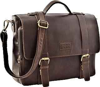 Menzo Stanford Aktentasche aus echten Leder für Damen und Herren, Umhängetasche, Vintage Messenger Bag, Lehrertasche, Marron, Einheitsgröße