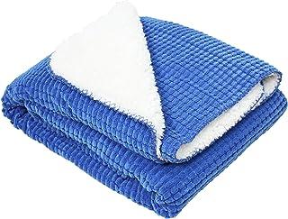 J & M Home Fashions Corduroy Sherpa Fleece Throw, 50 by 60-Inch, Blue
