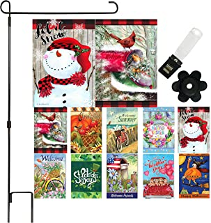Garden Flag Set of 10 - 12 x 18 Inch Yard flag Decorations Double Sided Banner for Outdoor Porch with Anti-Wind Clip and R...