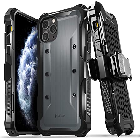 Vena vArmor 頑丈なケース Apple iPhone 11 Pro Max(6.5インチ 2019)対応 (ミリタリーグレードの落下保護) 高耐久ホルスターベルトクリップカバー キックスタンド付き スペースグレー