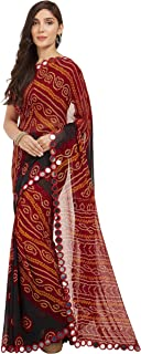 Sourbh Mirchi Fashion Women Faux Georgette Bandhani Printed Saree with Unstitched Piece