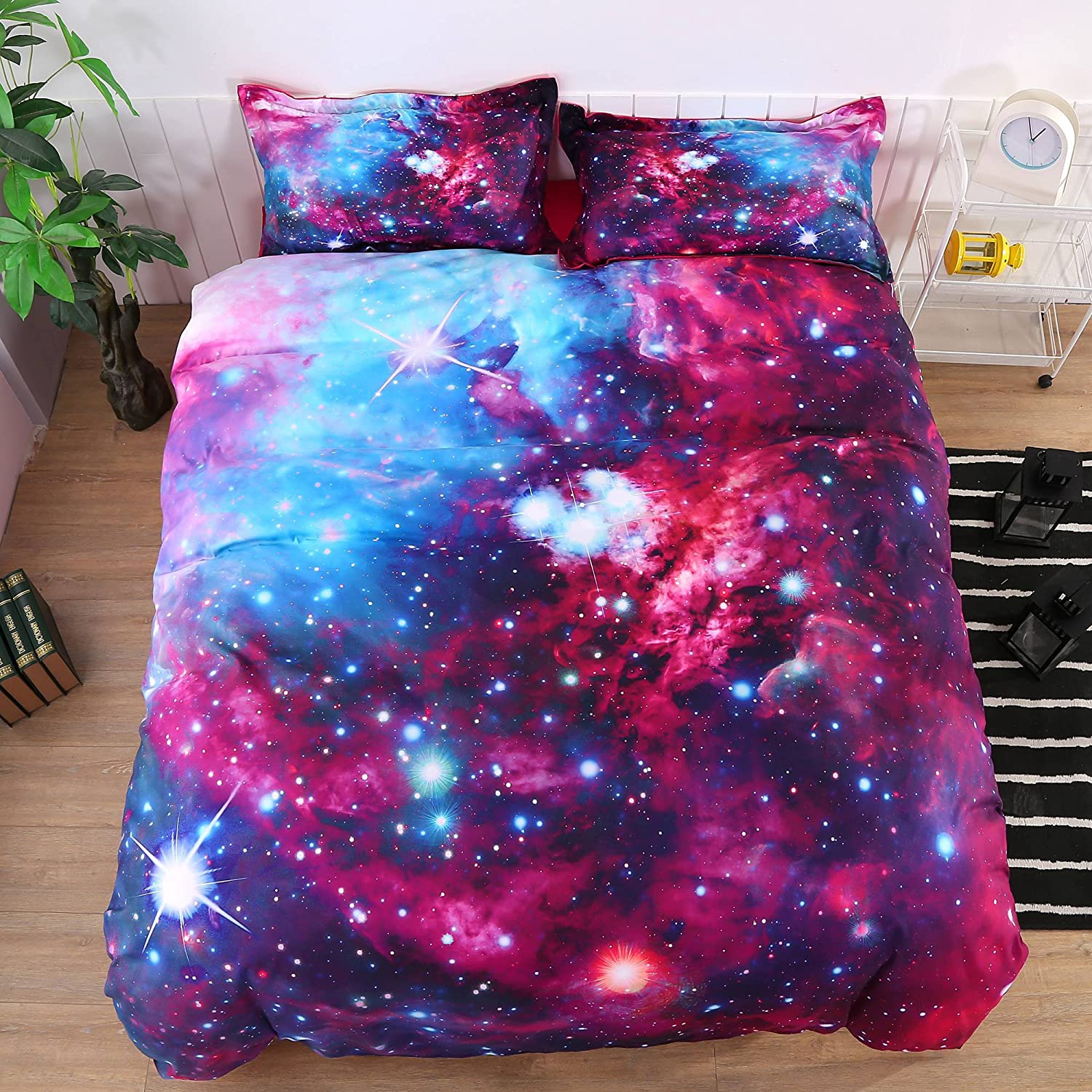 Ammybeddings 4 PCs Queen Size Purple Galaxy Bedding Universe Outer Space Duvet Cover 3D Charming Galaxy Bedding Sets Soft Stylish Home Decor Duvet Cover Set (No Comforter&NO Fitted Sheet)
