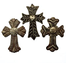 Set of 3 Crosses Recycled Haitian Oil Drum Art, 4 x 6 Inches