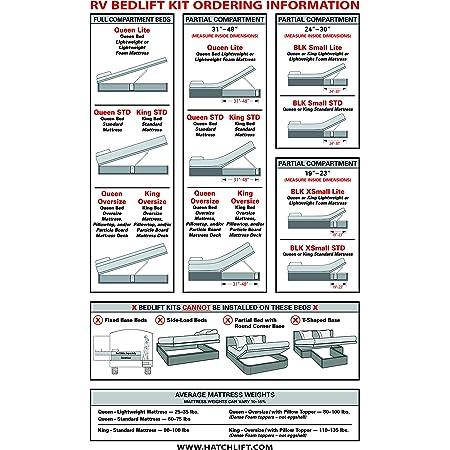 Hatchlift Products RV Bedlift Kit - Queen – Standard Mattress