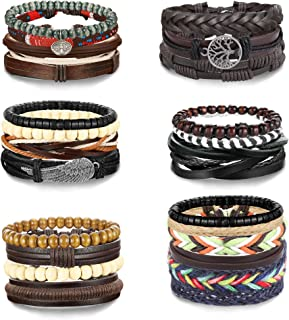 LOLIAS 25Pcs Woven Leather Bracelet for Men Women Cool Leather Braided Wrist Cuff Wristbands Adjustable Handmade Wooden Be...
