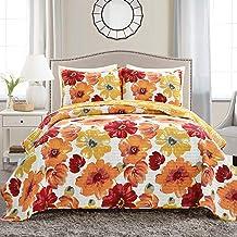 Lush Decor - 16T005050 Leah Quilt Floral 3 Piece Reversible, Full/Queen, Red & Orange