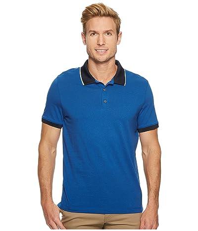 Perry Ellis Tipped Collar Pima Cotton Polo (Monaco Blue) Men