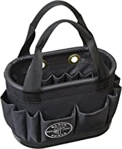 Aerial Bucket, Hard-Body Lineman Bucket, 29 Pockets, Heavy Duty Oval Bucket Bag Klein Tools 5144BHB14OS, Black