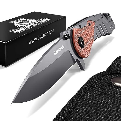 BearCraft Couteau Pliant | Couteau de Survie en Plein Air avec Insert en Bois | Petit Couteau Pliant en Acier Inoxydable | Idéal Pour les Loisirs, Randonnée Pédestre
