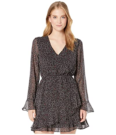 Cupcakes and Cashmere Amity Speckled Leopard V-Neck Dress (Black) Women