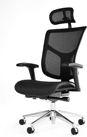 OFFICE FACTOR 符合人体工程学的可调节办公椅,带头枕的高背椅,座椅滑块旋转椅,黑色网状带铝制底座