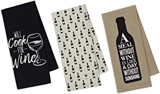 3 Wine Themed Decorative Cotton Kitchen Towel Set | 2 Funny Sayings and 1 Bottle Print Towels for Dish and Hand Drying