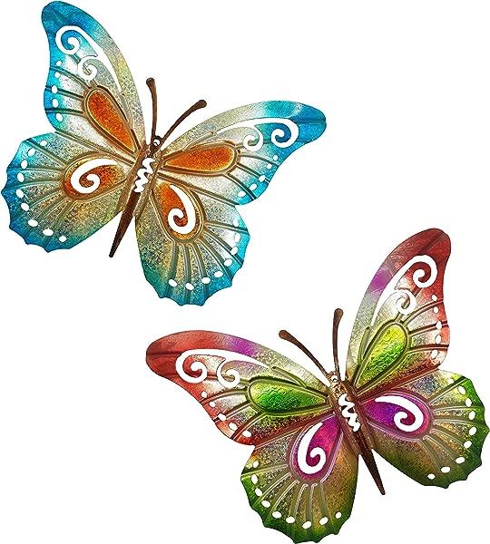 OSW Butterfly Outdoor Garden Wall Decor Or Indoor Living Room Bedroom Bathroom Large Metal Colorful Set Of 2 Butterflies
