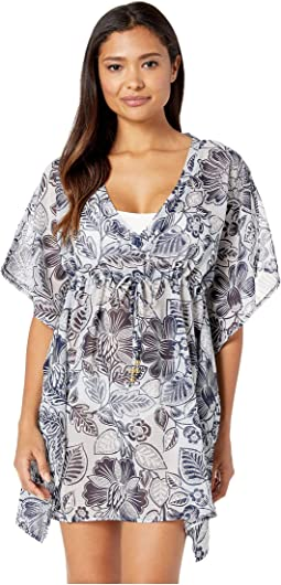 Bicolor Floral Silk Butterfly Cover-Up