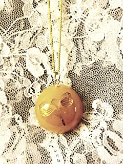 Dragonfly in Amber Resin Necklace Goldtone Chain