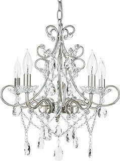 Amalfi Decor 5 Light LED Crystal Beaded Chandelier, Mini Wrought Iron K9 Glass Pendant Light Fixture Vintage Nursery Kids Room Dimmable Plug in Hanging Ceiling Lamp, Silver