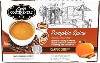 Cafe Continental Pumpkin Spice Cappuccino Mix Single Serve Brew Cups Pods, 12 Cups, Keurig 2.0