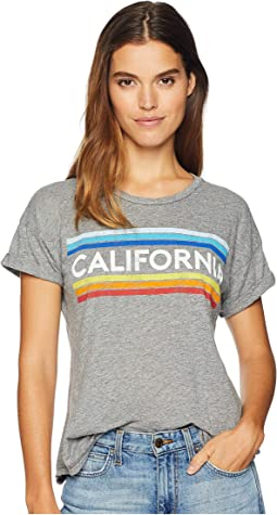 Vintage California Stripe Mocktwist Rolled Short Sleeve Crew Neck