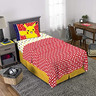 Pokemon Pikachu Character Kids Bedding Soft Microfiber Sheet Set Twin Size 3 Piece Pack Multi-