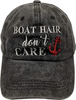 Waldeal Hat for Men Women Embroidered Boat Hair Don't Care Baseball Cap