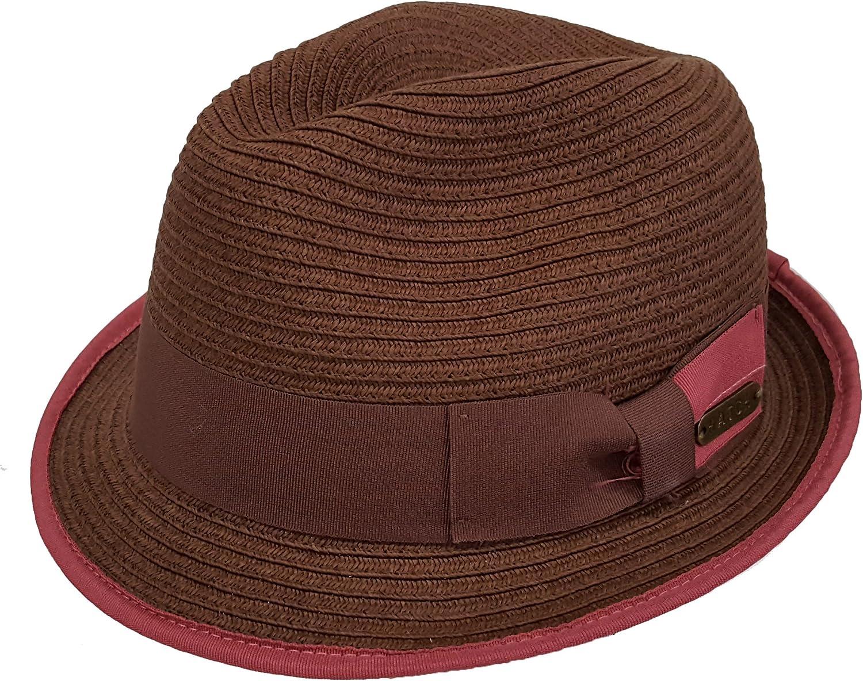 Women's Summer Fedora Gambler Floppy Polyester Braid Hats Beach Travel Hat Brown