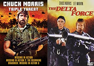Triple Threat CHUCK NORRIS Missing in Action 1/2/3 Action Bundle- Delta Force + Missing In Action/ Missing In Action 2/ Braddock: Missing In Action 3 (4-DVD Movie Set)