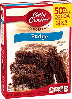 Betty Crocker Fudge Brownies, Family Size, 18.3-Ounce Boxes (Pack of 12)