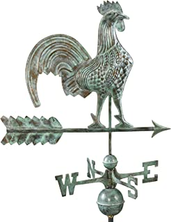 Good Directions Rooster Weathervane, Blue Verde Copper, Patina