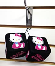 Sanrio Hello Kitty Pink Bow Rear View Mirror Hanging Fuzzy Dice Ornament