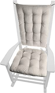 Barnett Home Decor Ticking Stripe Black Rocking Chair Cushions - Extra-Large - Seat Pad and Back Rest with Ties- Reversible, Latex Foam Fill - Made in USA (Presidential/Black - Natural)
