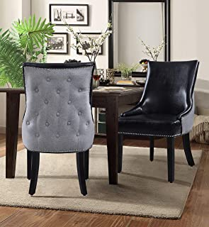 Iconic Home Brando Dining Side Accent Chair Pebble Grain PU Leather Linen Upholstered Nailhead Trim Tapered Solid Birch Legs Modern Transitional Set of 2, Black