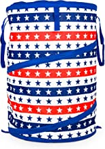 Camco Stripes and Stars Pop-Up Cooler - Collapsible Storage Bin with Durable Handles and Zipper Lid - Perfect for Camping, Cookouts, Tailgating, Picnics and The Beach- Patriotic Design (51993)