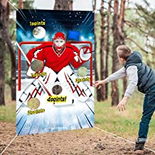 Hockey Toss Game with 3 Bean Bags, Indoor Outdoor Hockey Party Game for Kids and Adults, Sport Theme Party Decorations and Supplies (White Red Hockey)