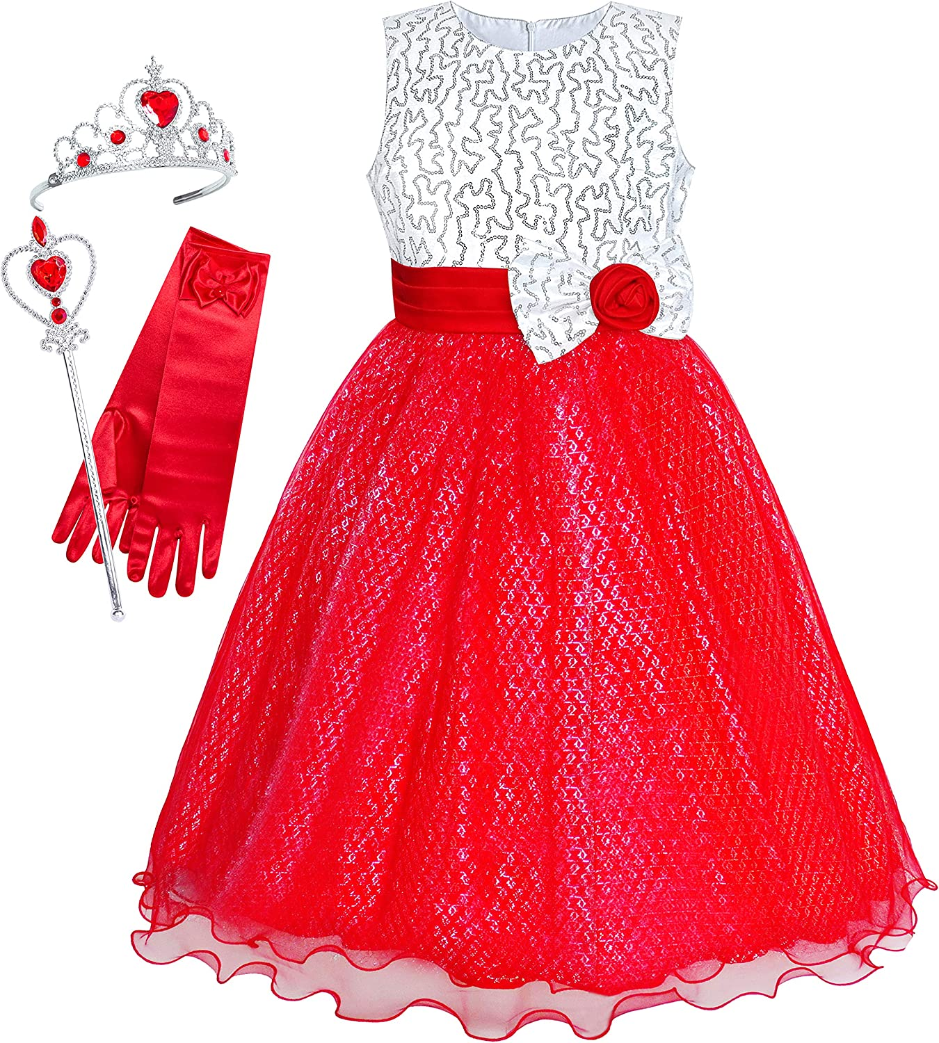 Sunny Fashion Girls Dress Red Sequin Crown Gloves Bridesmaid Wedding Pageant