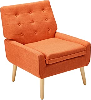 Christopher Knight Home Eonna Buttoned Mid Century Modern Muted Orange Fabric Chair